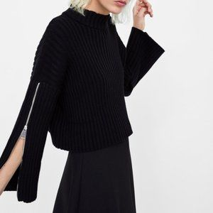 Zara Knit Ribbed Sweater With Zipper Sleeves